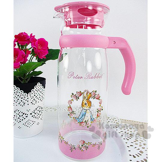 〔小禮堂〕彼得兔 耐熱玻璃壺~透明.粉.玫瑰花圈.1215ml~