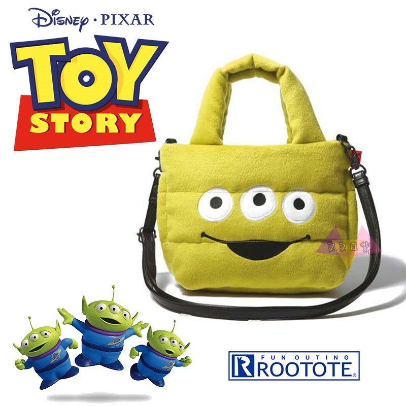 叉叉日貨 迪士尼玩具總動員三眼怪大臉Rootote太空包絨毛手提包肩背包斜背包~皮質背帶【Di38134】到貨囉~