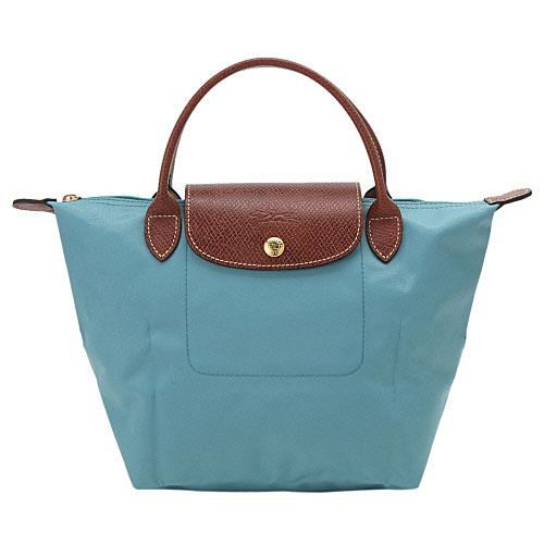 [短柄S號]國外Outlet代購正品 法國巴黎 Longchamp [1621-S號] 短柄 購物袋防水尼龍手提肩背水餃包 水藍色