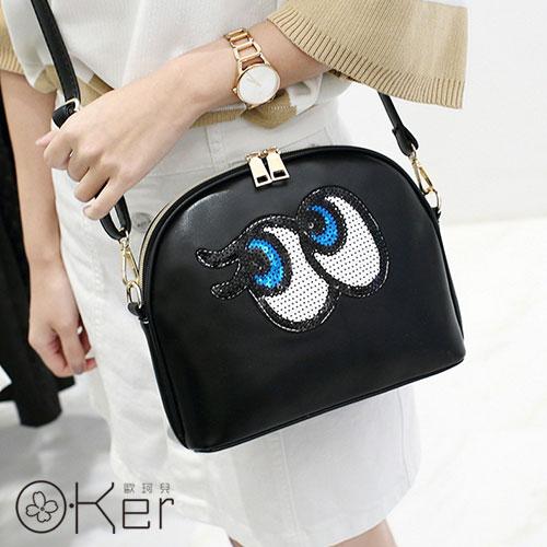 可愛藍眼睛造型貝殼肩背包 O-Ker歐珂兒 HH115