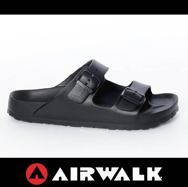 萬特戶外運動-AIRWALK A535220120 美國運動流行 台灣製造 雙扣環拖鞋 EVA 運動拖鞋 勃肯鞋款BIRKENSTOCK 全黑