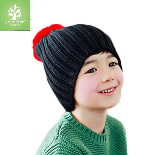 Kocotree◆ 秋冬簡約氣質純色糖果色立體大毛球兒童保暖毛線帽-黑色