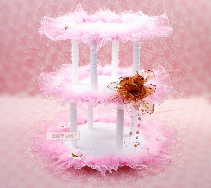 一定要幸福哦~~三層蛋糕架(粉色)~~喜糖、送客禮、婚禮佈置