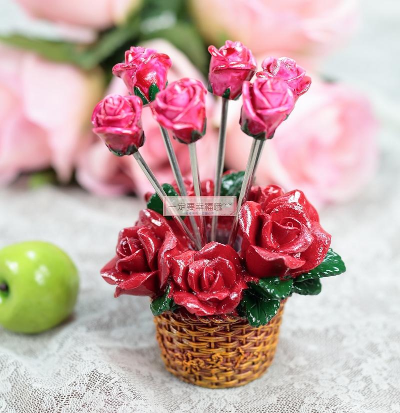 一定要幸福哦~~浪漫玫瑰水果叉(1組6支)~婚禮小物、派對、生日、送客禮