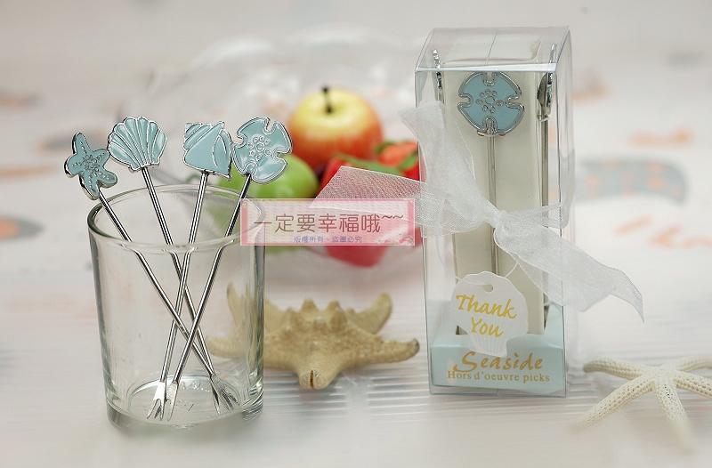 一定要幸福哦~~海洋風水果叉(1組4支)、婚禮小物、送客禮、伴娘禮