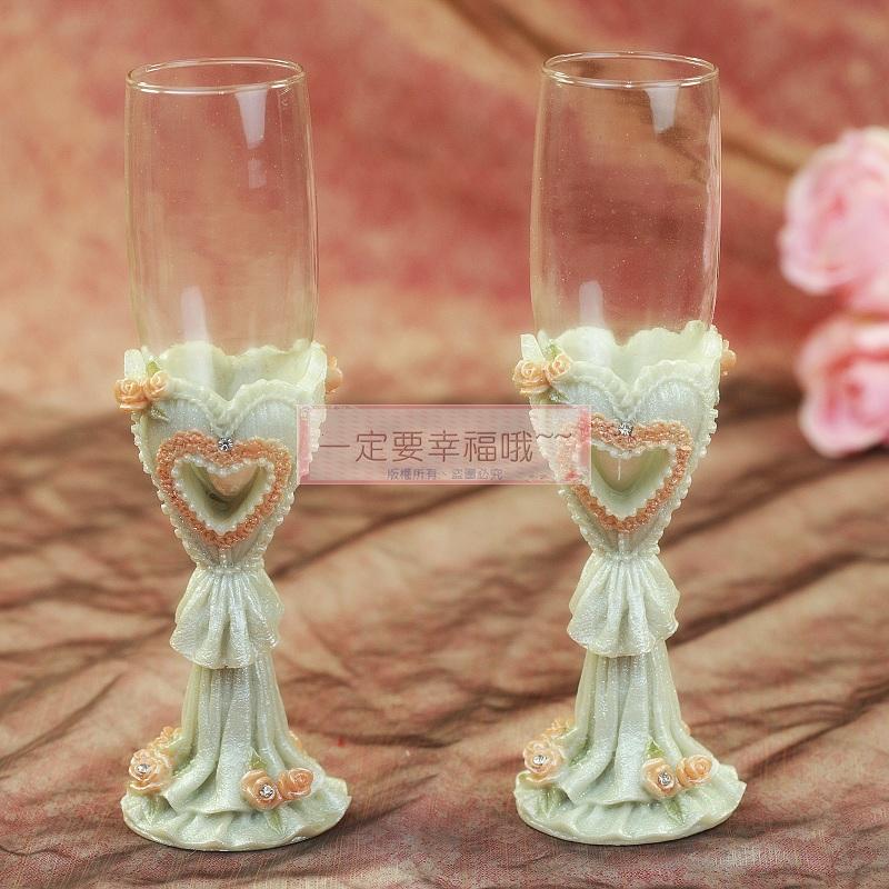 一定要幸福哦~~浪漫心形婚宴對杯、婚禮小物、姐妹禮、結婚證書