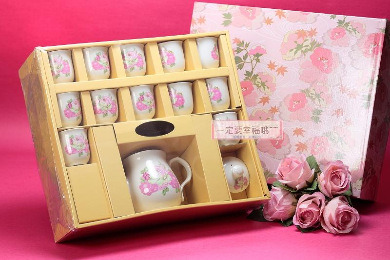 一定要幸福哦~~玫瑰花茶具組(西式)、結婚用品、吃新娘茶、訂婚奉茶
