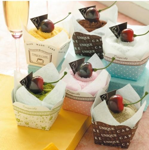 一定要幸福哦~~海棉櫻桃蛋糕毛巾(20個特價2400元)、送客禮、蛋糕毛巾、生日禮、購物袋