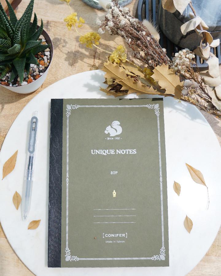 綠的事務用品Conifer松鼠系列鋼筆筆記本_A5方格5色可選-即將到貨