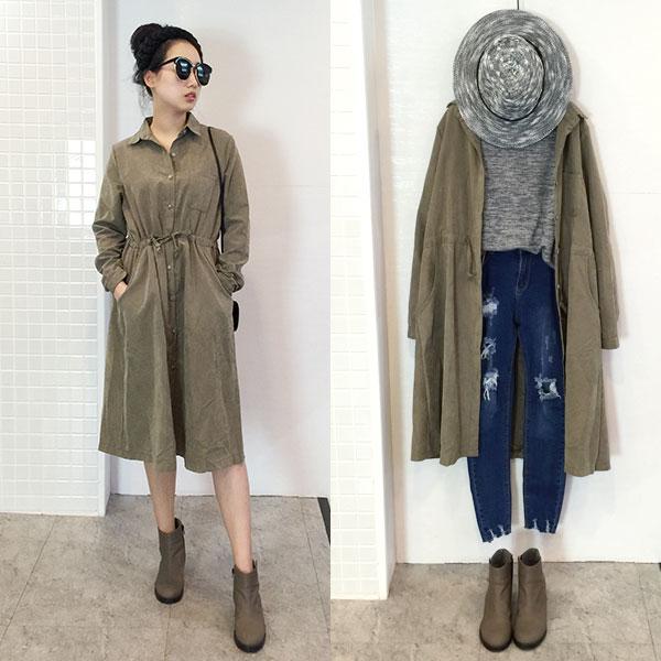 兩穿式 風衣 外套 連身裙 洋裝 長版 襯衫 連衣裙 蜜桃絨 個性 帥氣 排釦 韓