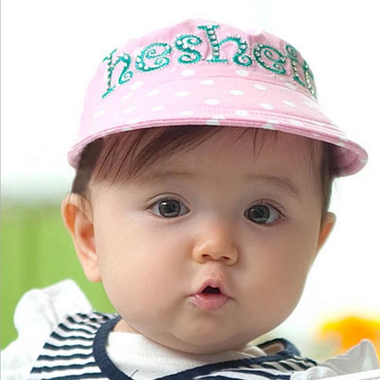 Kocotree◆可愛點點質感字母刺繡舒棉兒童帽防曬帽空頂帽-粉色