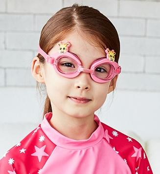 Kocotree◆可愛動物小鹿長頸鹿卡通造型兒童泳鏡防水護目鏡-粉色