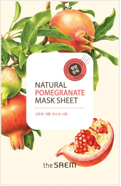 韓國the SAEM Natural 美顏石榴面膜 21ml Natural Pomegranate Mask Sheet (New)【辰湘國際】