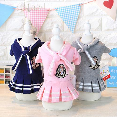 【小樂寵】海軍風徽章領巾小洋裝.三色