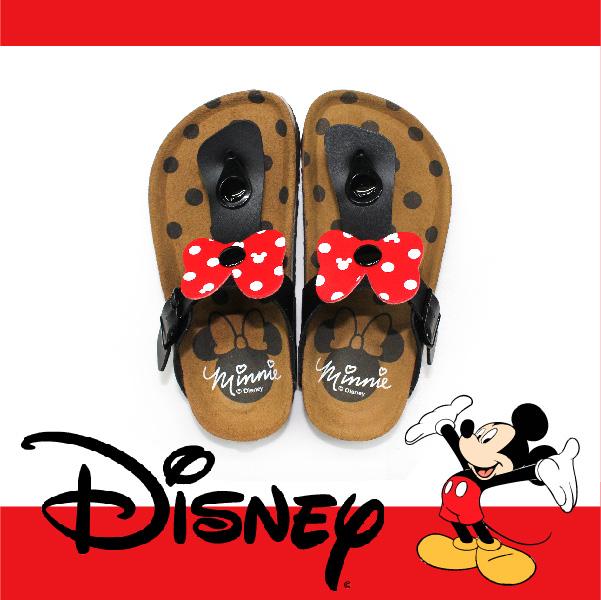 萬特戶外運動休閒 - 正版迪士尼勃肯兒童拖鞋 米妮蝴蝶結夾腳拖鞋 米奇米妮 親子款 (黑色)