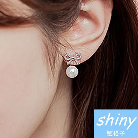 【DJA2601】shiny藍格子-鑲鑽蝴蝶結珍珠後掛式兩用耳環