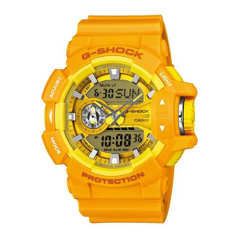 CASIO G-SHOCK GA-400A-9A亮彩豔黃雙顯流行腕錶/51mm