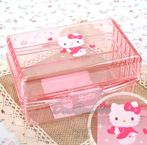 kitty飾品珠寶小文具收納盒格層式粉透明拿愛心522988海渡