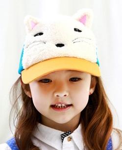 Lemonkid◆春秋冬可愛動物造型狐狸立體耳朵兒童鴨舌帽-黃色