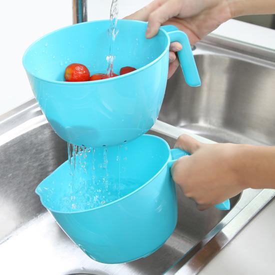 ♚MY COLOR♚雙層帶手柄瀝水籃 圓形 手把 洗菜 清洗 置物 收納 水果 蔬菜 瀝乾 過濾 【Q230】