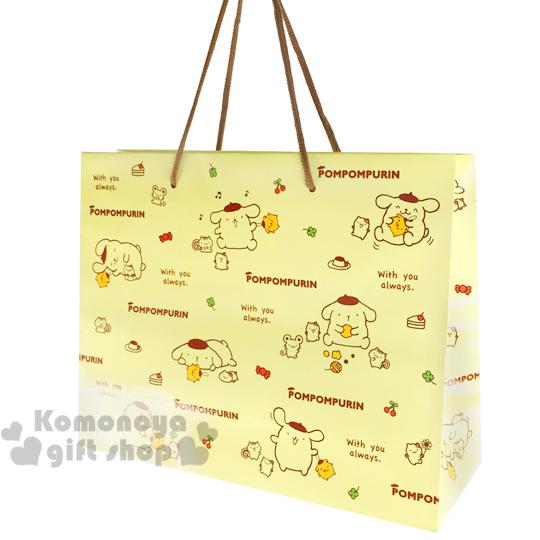 〔小禮堂〕布丁狗 日製提袋《大.黃.文字.多動作》送禮包裝最方便