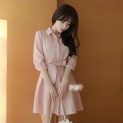 PS Mall 韓版粉色雪紡五分袖襯衫長款連身裙 洋裝【T1334】