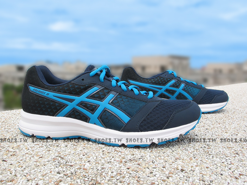 Shoestw【T619N-5843】ASICS 慢跑鞋 基本入門款 PATRIOT8 深藍 男生