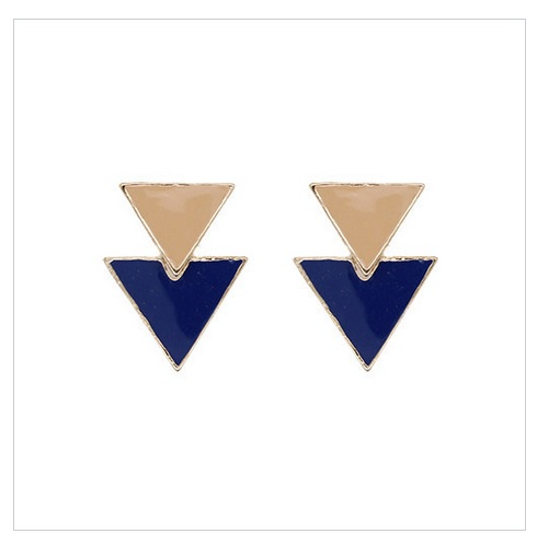 倒三角摩登垂墬式耳環 (米X海軍藍)La Mode Triangle Dangle Earrings - Beige x Navy