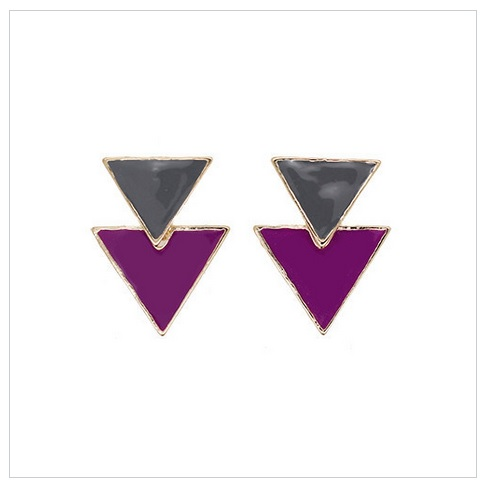 倒三角摩登垂墬式耳環 (橄欖綠X紫)La Mode Triangle Dangle Earrings - Olive x Purple