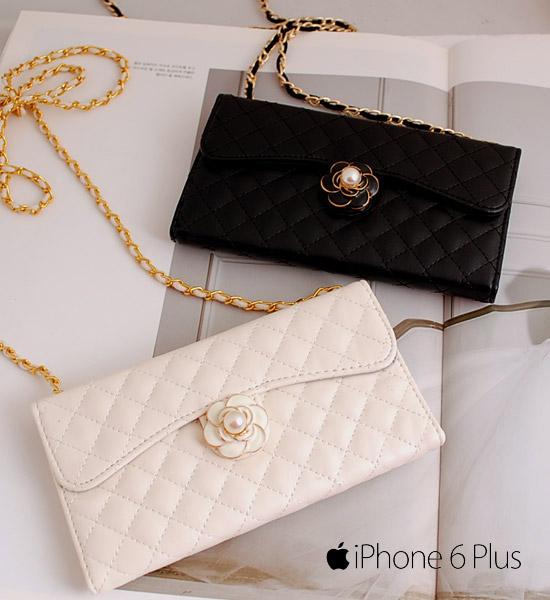 IPHONE6plus山茶花皮革手機鍊包【 IPhone6plus 】Camellia Leather Pochette Case