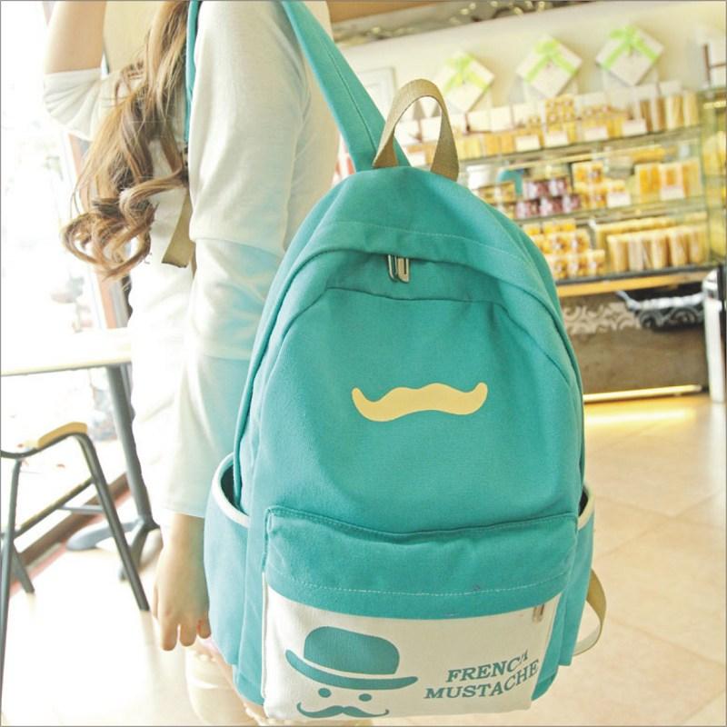 【小鬍子先生後背包】 韓版流行後背包 學院風旅行包 書包  時尚玩包