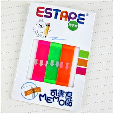 王佳膠帶 ESTAPE 隨手卡易撕貼系列CHC3100全面螢光Memo / 組
