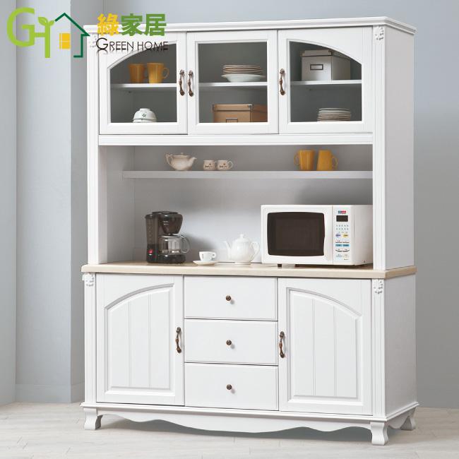 【綠家居】費斯納 白色5尺石面收納餐櫃組合(上+下座)