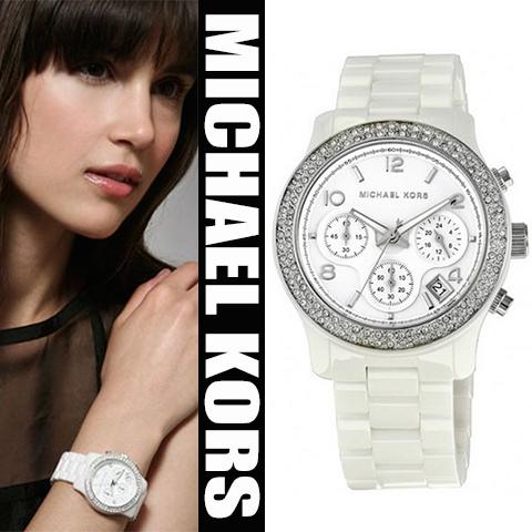 美國Outlet正品代購 MichaelKors MK 陶瓷 水鑽 三環 手錶 腕錶 MK5188
