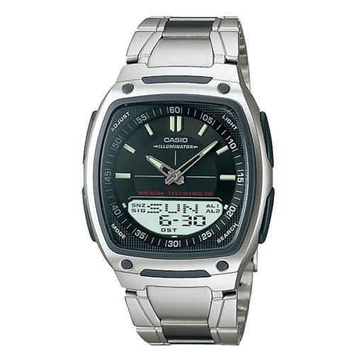 CASIO 10年電力/雙顯腕錶/黑/AW-81D-1AVDF