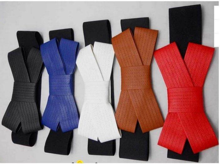 來福,H131腰封歐美奢華大蝴蝶結造型鬆緊寬腰帶皮帶腰封,售價158元