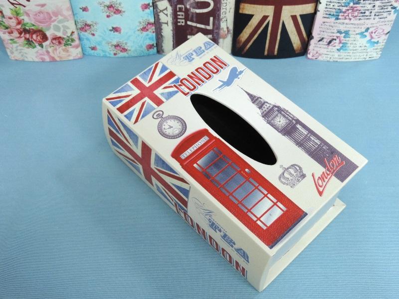 ◤彩虹森林◥《英倫》 書本面紙盒 皮革 木製面紙盒 磁扣式皮革面紙盒 收納盒 發票桶 英倫風