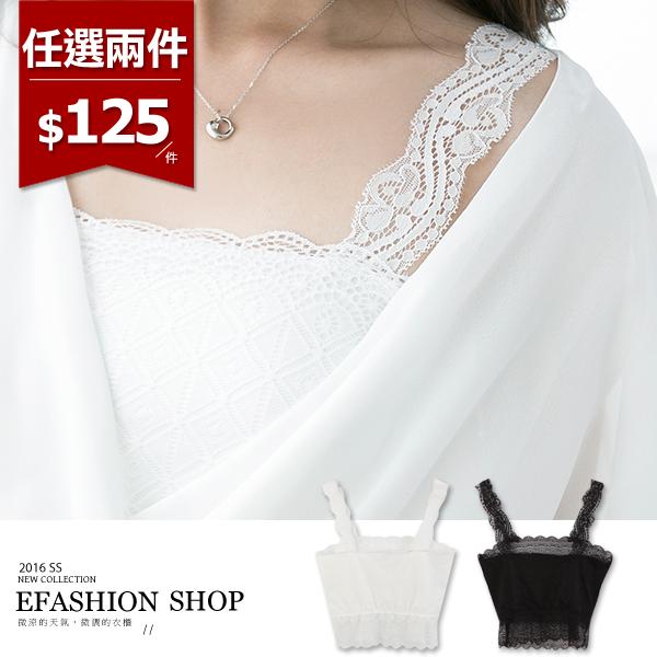 蕾絲-格紋蕾絲短版背心-eFashion 預【D10153681】