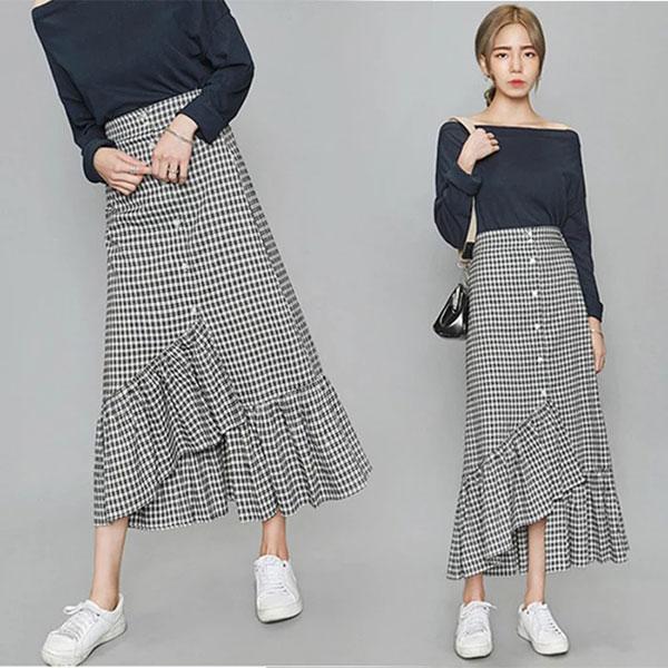 格子 魚尾裙 黑白格紋 長裙 荷葉 蛋糕裙 不規則 顯瘦 韓
