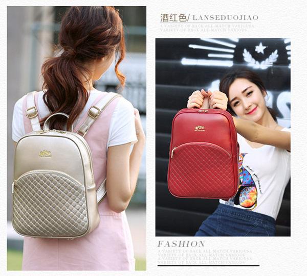 (預購)2016新款 韓版時尚菱格紋後背包 雙肩包 學院風休閒背包 書包