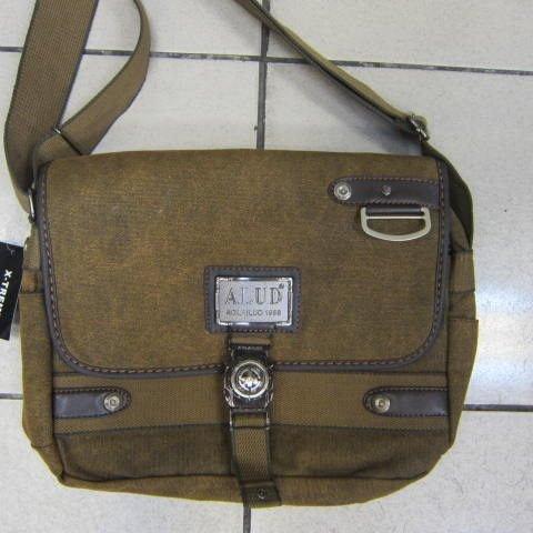 ~雪黛屋~ALUD側背包個性風格書包可放A4資料夾 掀蓋式隨身物品包 防水帆布+皮革 65-26072咖