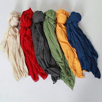 中大尺碼  棉麻超長純色圍巾6色 [FB398] - 蓁豔小舖