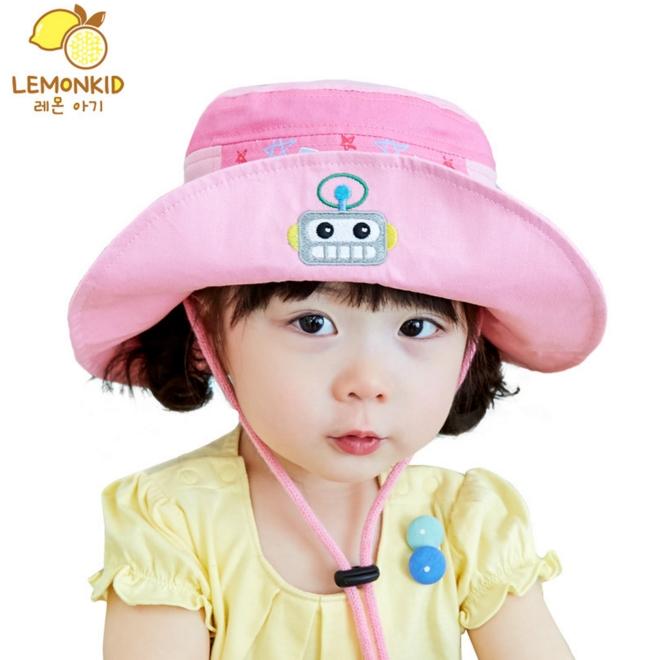 Lemonkid◆可愛俏皮機器人造型附繩夏日防曬盆帽遮陽帽-粉色