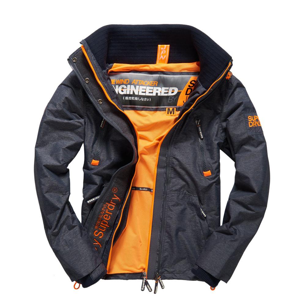 美國百分百【Superdry】極度乾燥 Attacker 風衣 立領 外套 防風 夾克 刷毛 藍灰 螢光橙 M L XXL號 G332