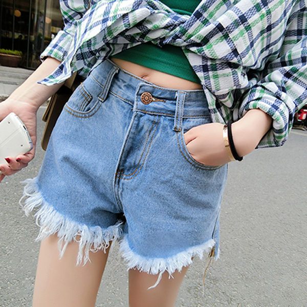 PS Mall 韓版高腰磨毛抽鬚牛仔短褲 顯瘦百搭短褲 熱褲【T1671】