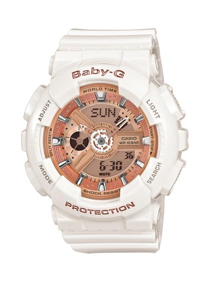 CASIO BABY-G BA-110-7A1甜美女孩雙顯流行腕錶/香檳面43.4mm