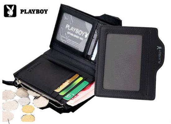 【橘子包舖P115572】PLAYBOY.牛皮短夾.活動卡位.零錢袋