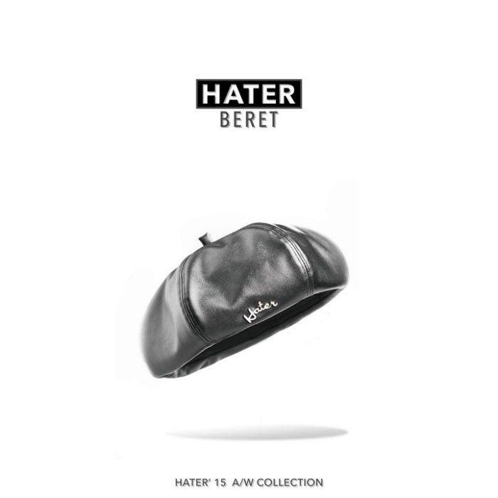 ►法西歐_桃園◄ 新款 HATer Leather Beret 高質感皮革貝雷帽 金屬草寫標 紀卜心著用 現貨