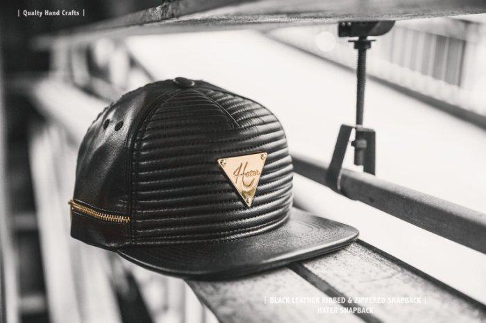 ►法西歐_桃園◄ HATer Black Leather Ribbed & Zippered 真皮車線棒球帽 畢書盡Bii著用