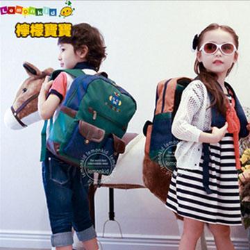 WallFree窩自在★可愛俏皮拼色機器人雙袋設計減壓防水透氣雙肩包兒童背包